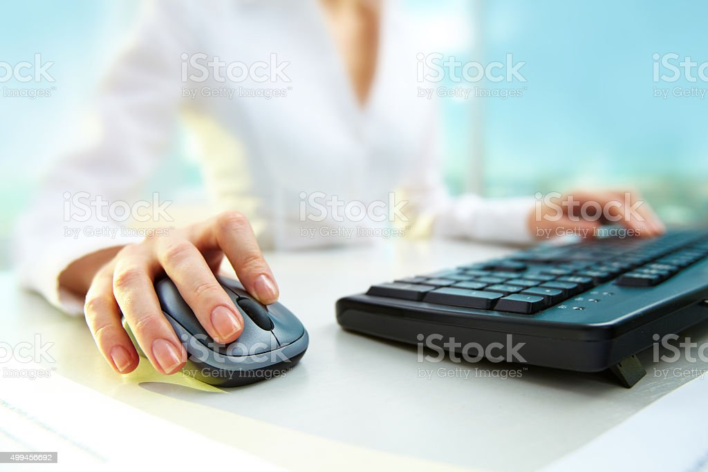 Pressing mouse button stock photo