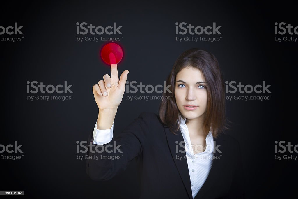 Pressing the red button royalty-free stock photo