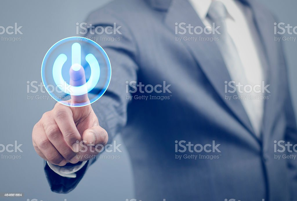 Pressing the start button stock photo