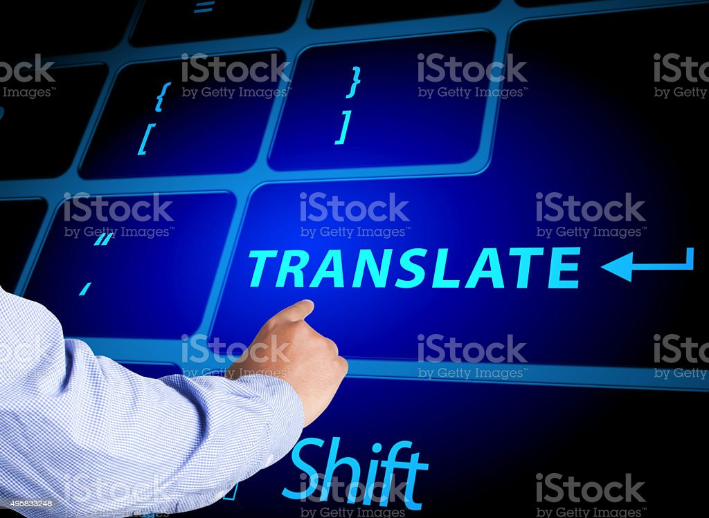 Pressing translate button on computer keyboard stock photo