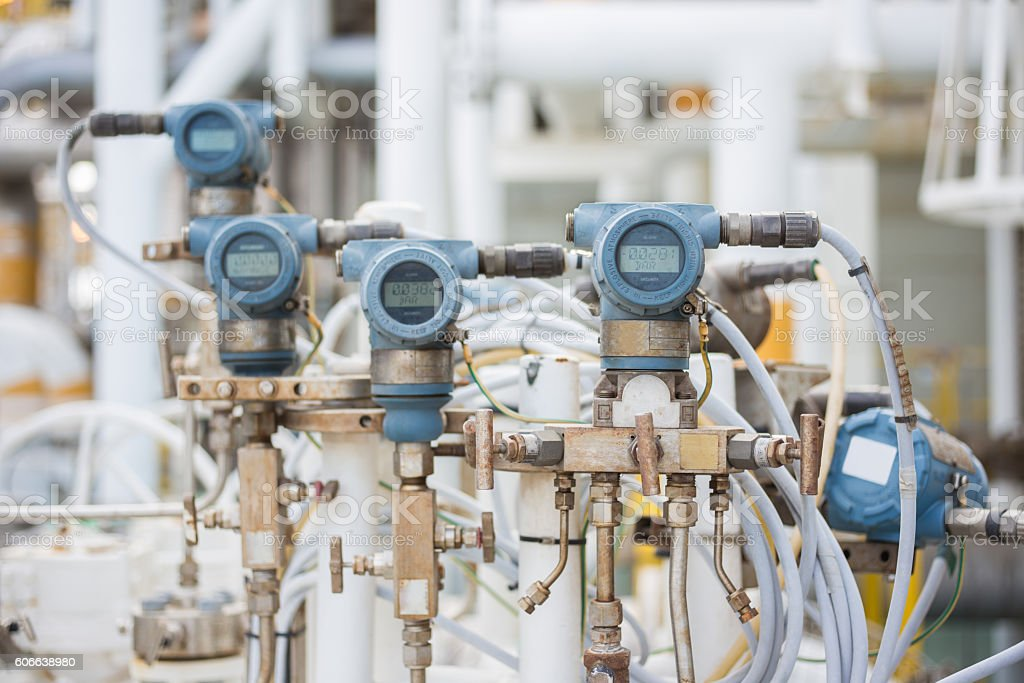 Pressure and differential Transmitter on oil and gas platform. stock photo