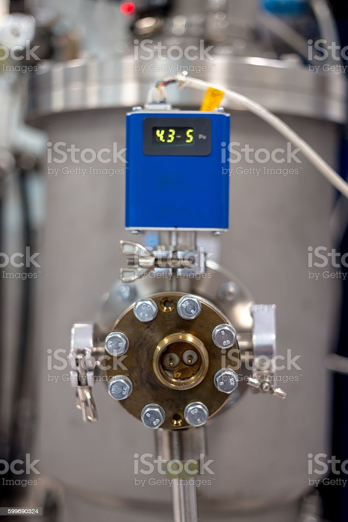 Pressure and temperature indicator on the instrument stock photo