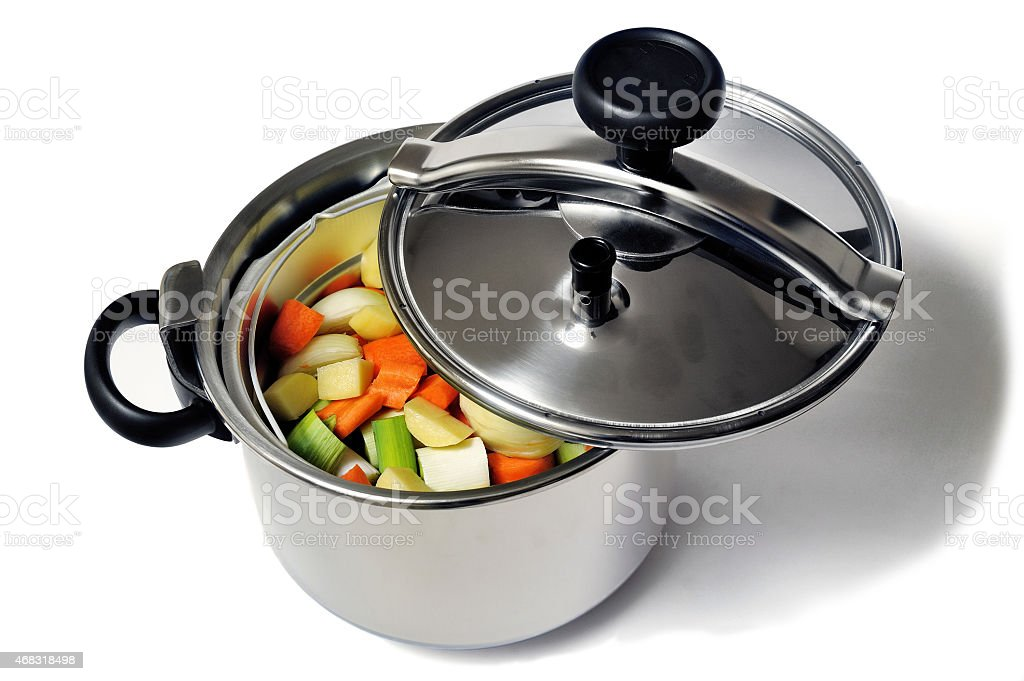 Pressure cooker stainless steel stock photo