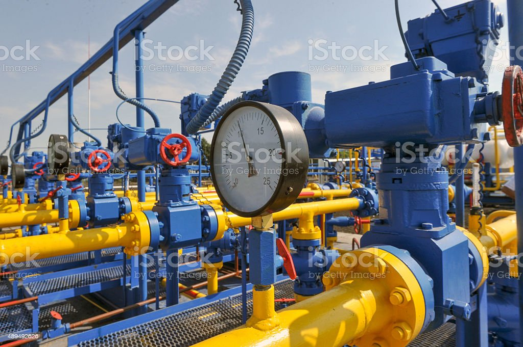 Pressure gauge and handle gate stock photo