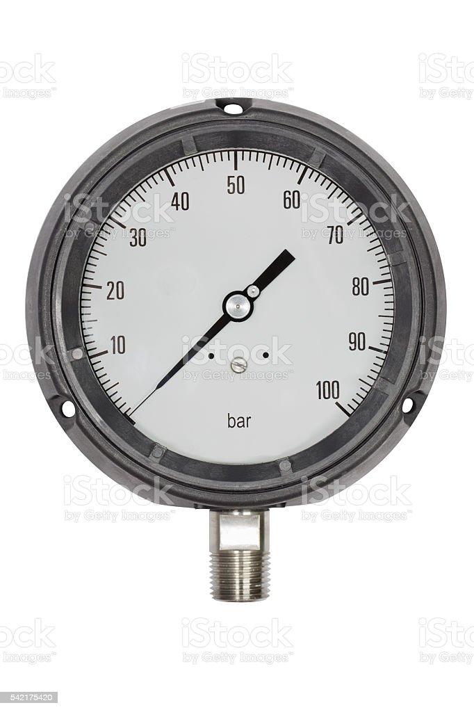 Pressure gauge bourdon tube type isolate on white stock photo