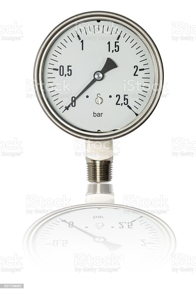 Pressure gauge bourdon tube type isolate on white,clipping path stock photo