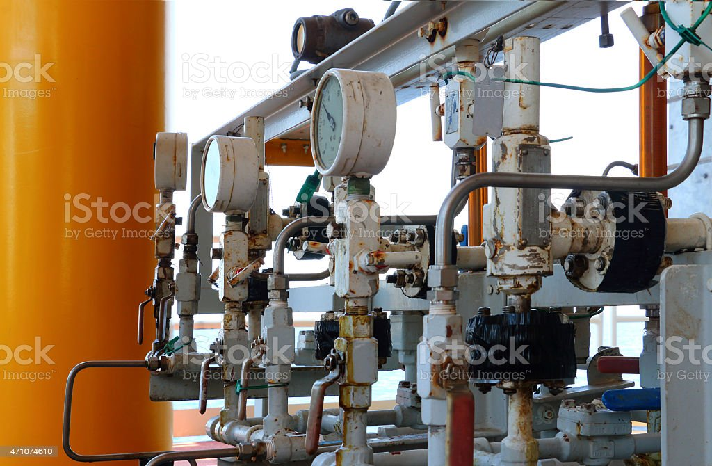 Pressure gauge for measuring pressure in the system, stock photo
