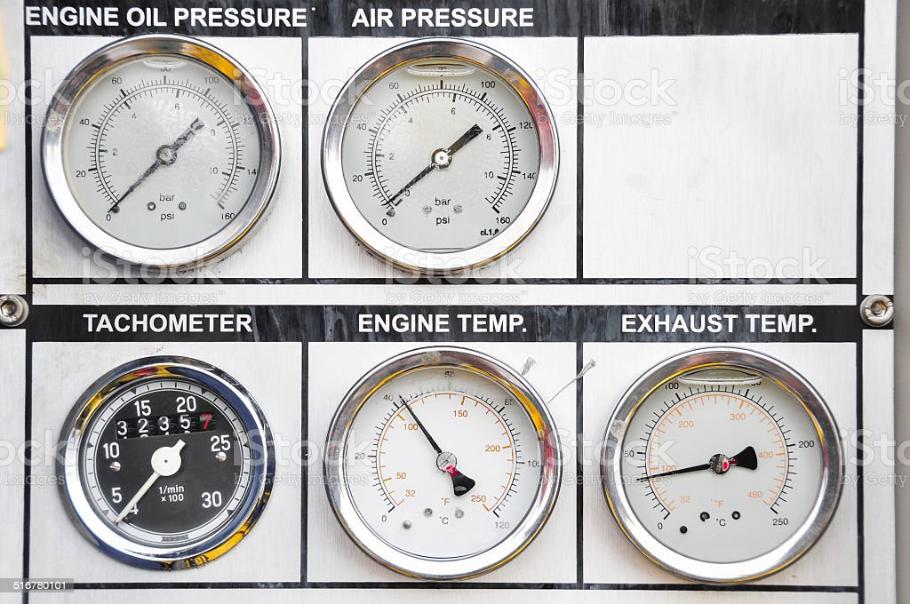 Pressure gauge for measuring pressure in the system stock photo