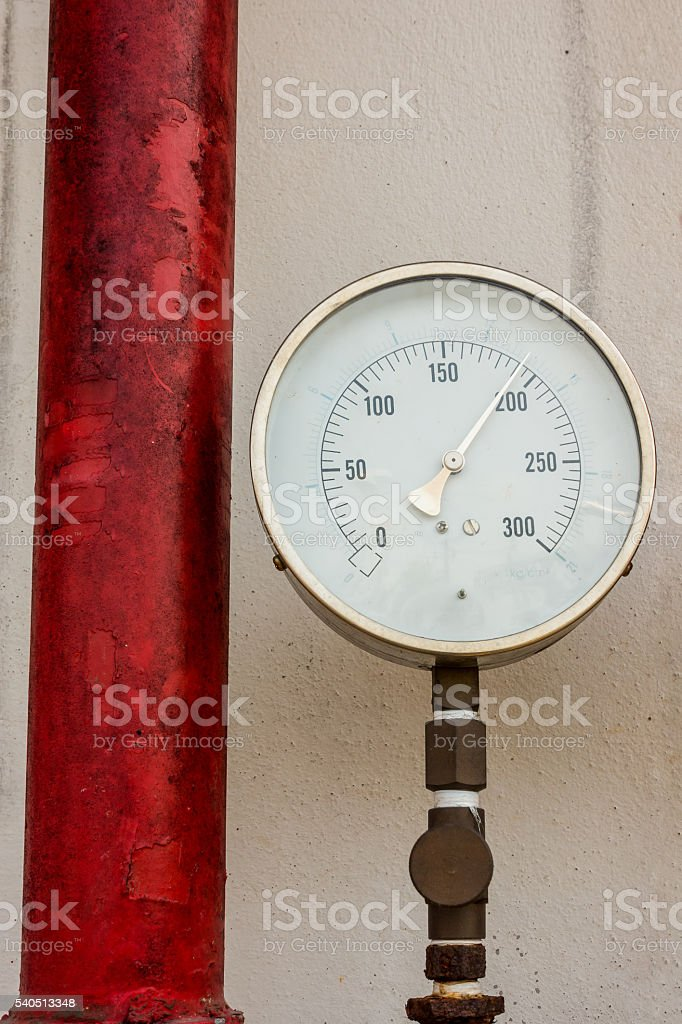 Pressure gauge for measuring pressure of fire protection system. stock photo