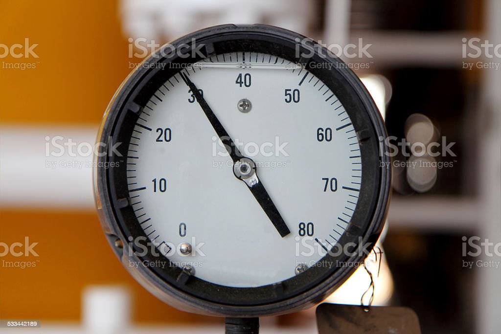 Pressure gauge for measuring pressure oil and gas. stock photo