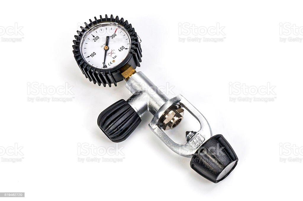 Pressure gauge for scuba stock photo