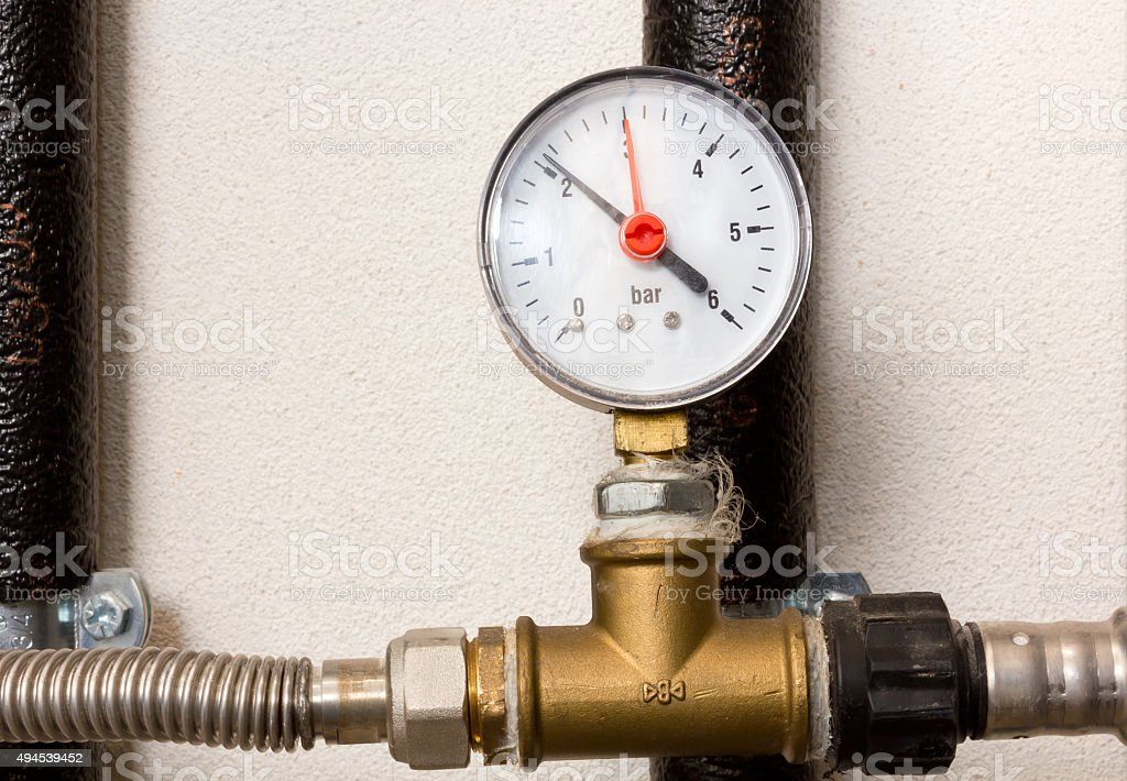 Pressure Gauge in a Boiler Room stock photo