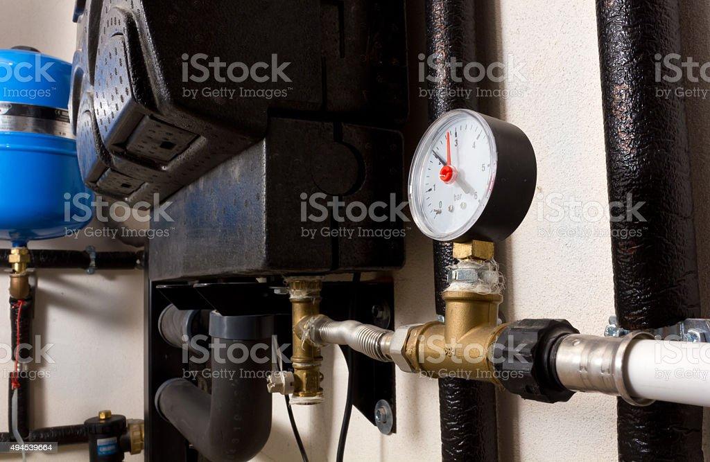 Pressure Gauge in a Boiler Room stock photo
