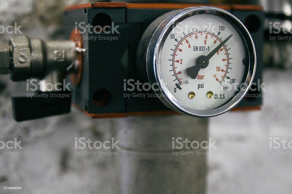 Pressure gauge in a workshop stock photo