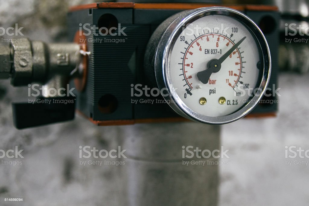Pressure gauge in a workshop stock photo