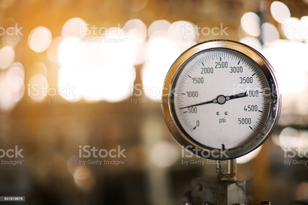 Pressure gauge in oil and gas production. stock photo