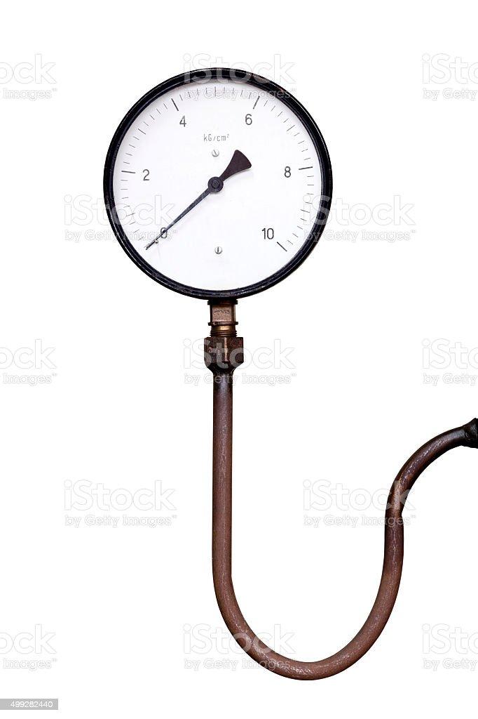 pressure gauge isolated on white background stock photo