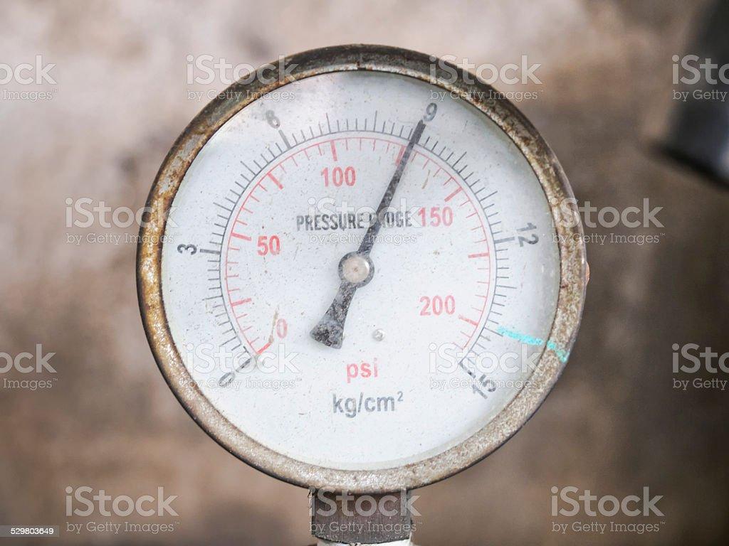 Pressure gauge Measuring Tool instrument Top view stock photo