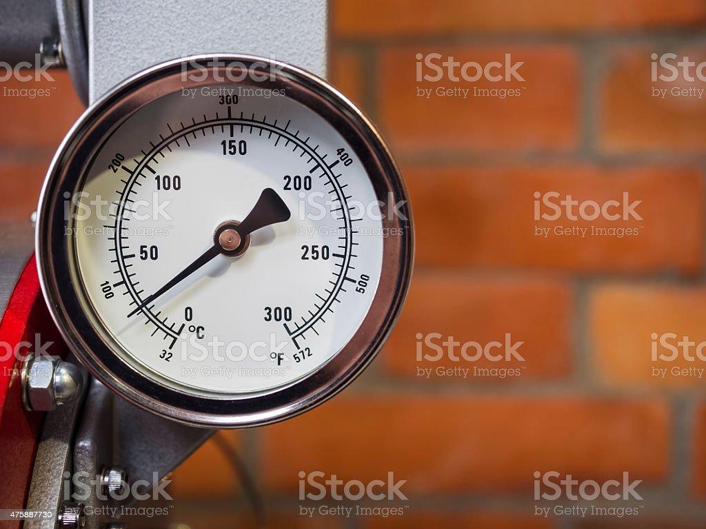 Pressure gauge Meter installed, Measuring Tool equipment stock photo