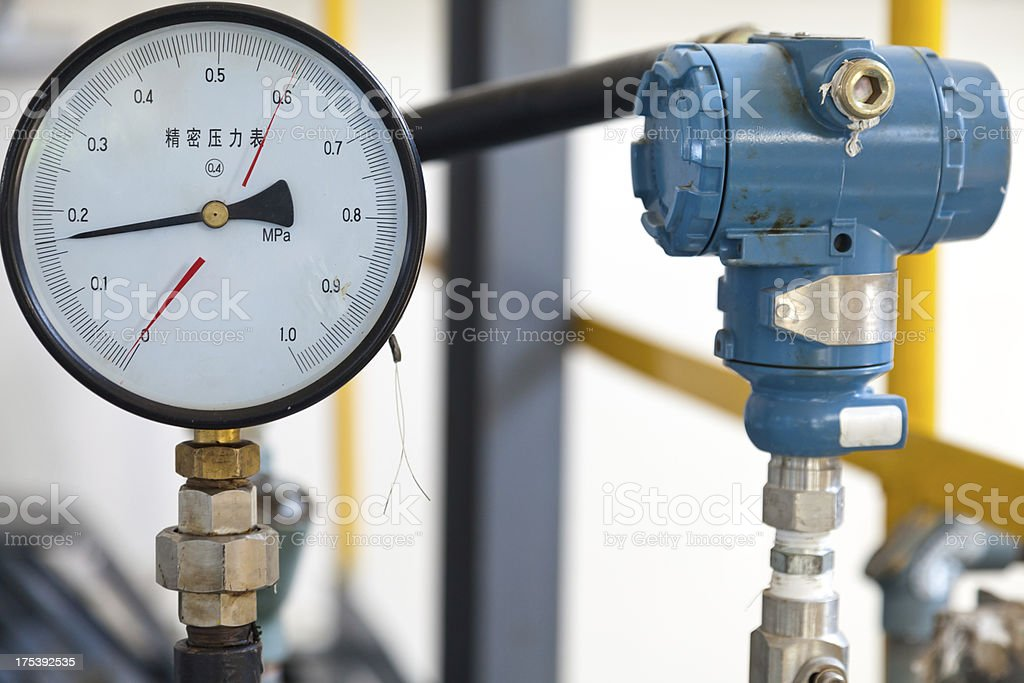 pressure gauge of the oil industry royalty-free stock photo