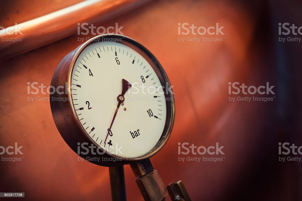 Pressure Gauge on a Copper Vat in a Brewery stock photo