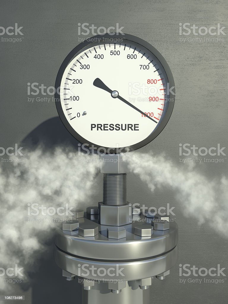 Pressure gauge on full with releasing steam stock photo