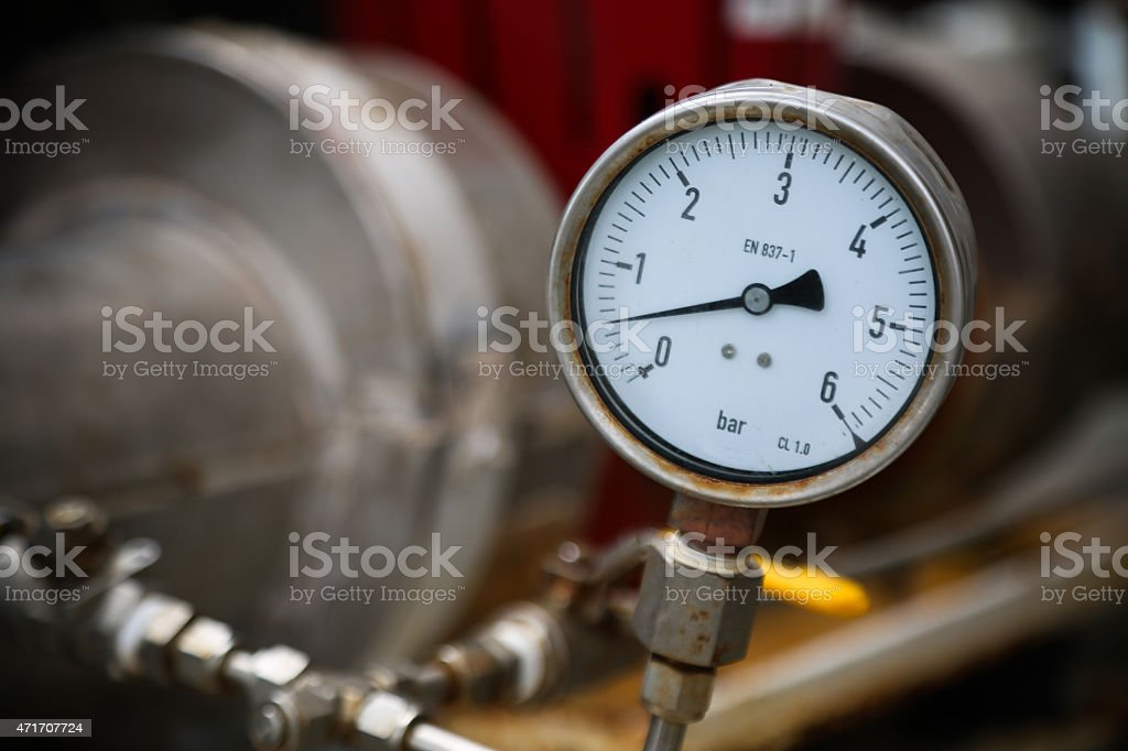 Pressure gauge on oil and gas process for monitored condition. stock photo