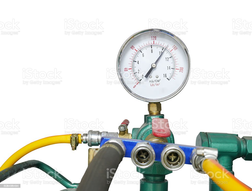 Pressure gauge with air compressure stock photo