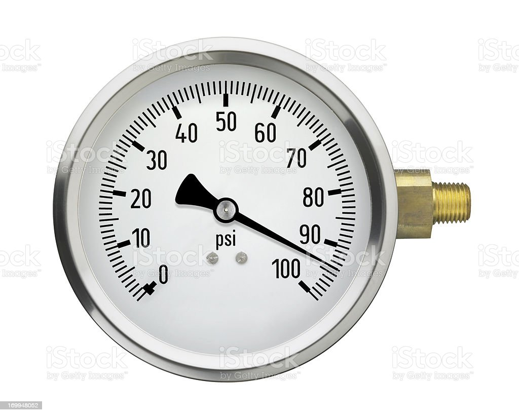 Pressure Gauge with high reading, isolated on white royalty-free stock photo