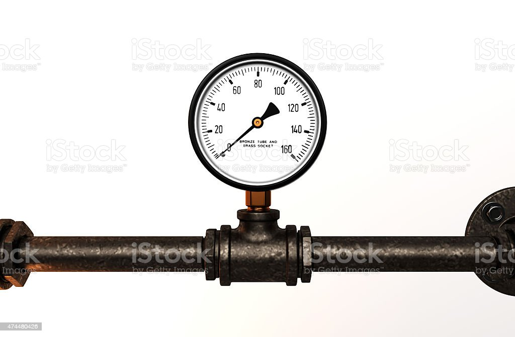 Pressure gauge with metal tube stock photo
