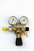 pressure gauges and valves isolated with Clipping Path