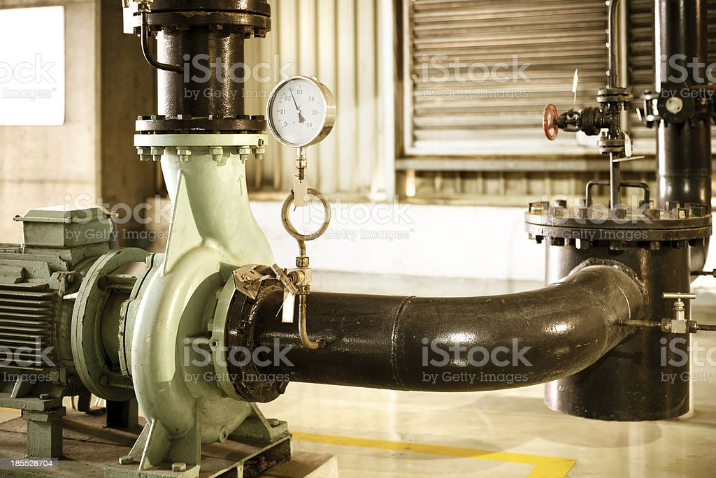 Pressure gauges and valves stock photo