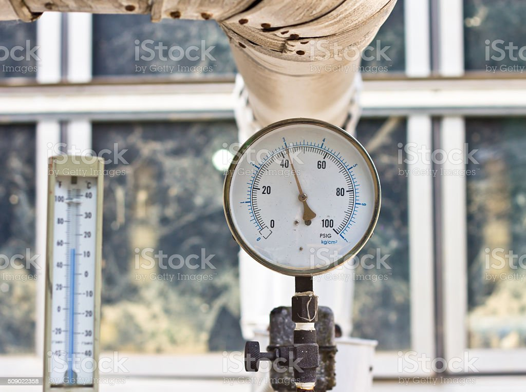 pressure meter on a machine stock photo