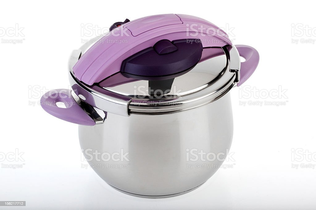 Pressure pan with Purple handles stock photo