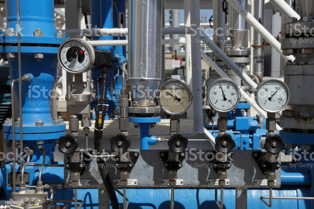 pressure valves and gauges stock photo