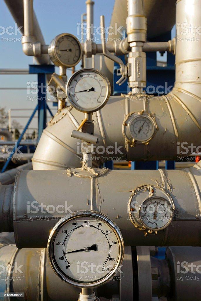 Pressure valves and gauges,Turkey stock photo