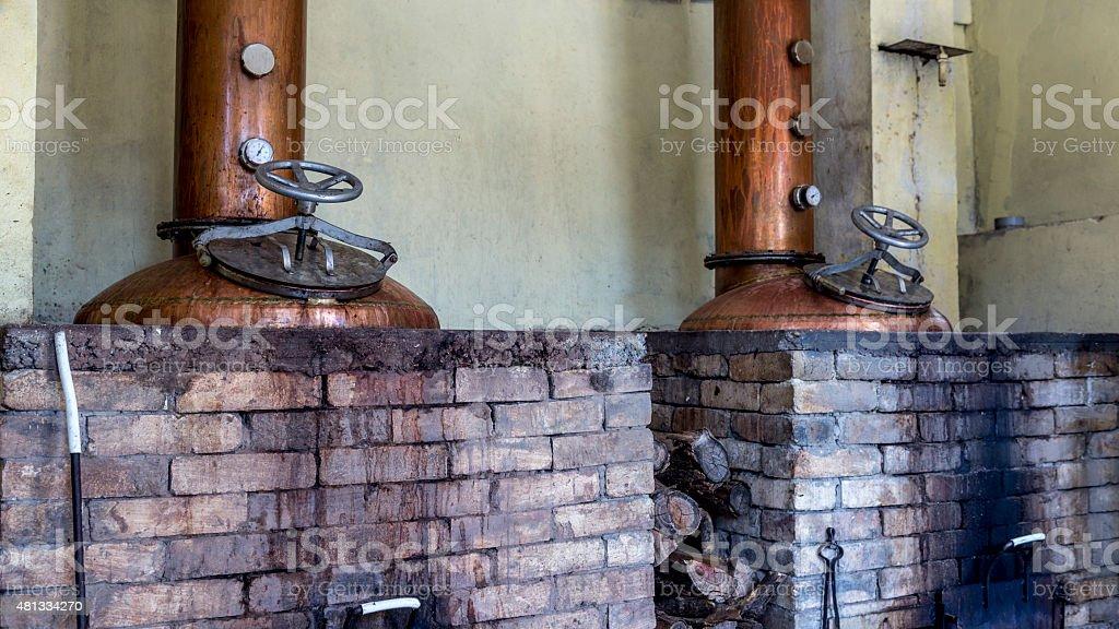 Pressure vessels of distillery installations stock photo