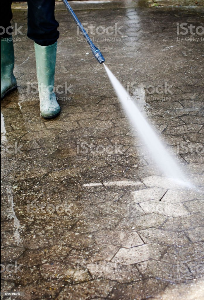 Pressure Washing Block Paving royalty-free stock photo