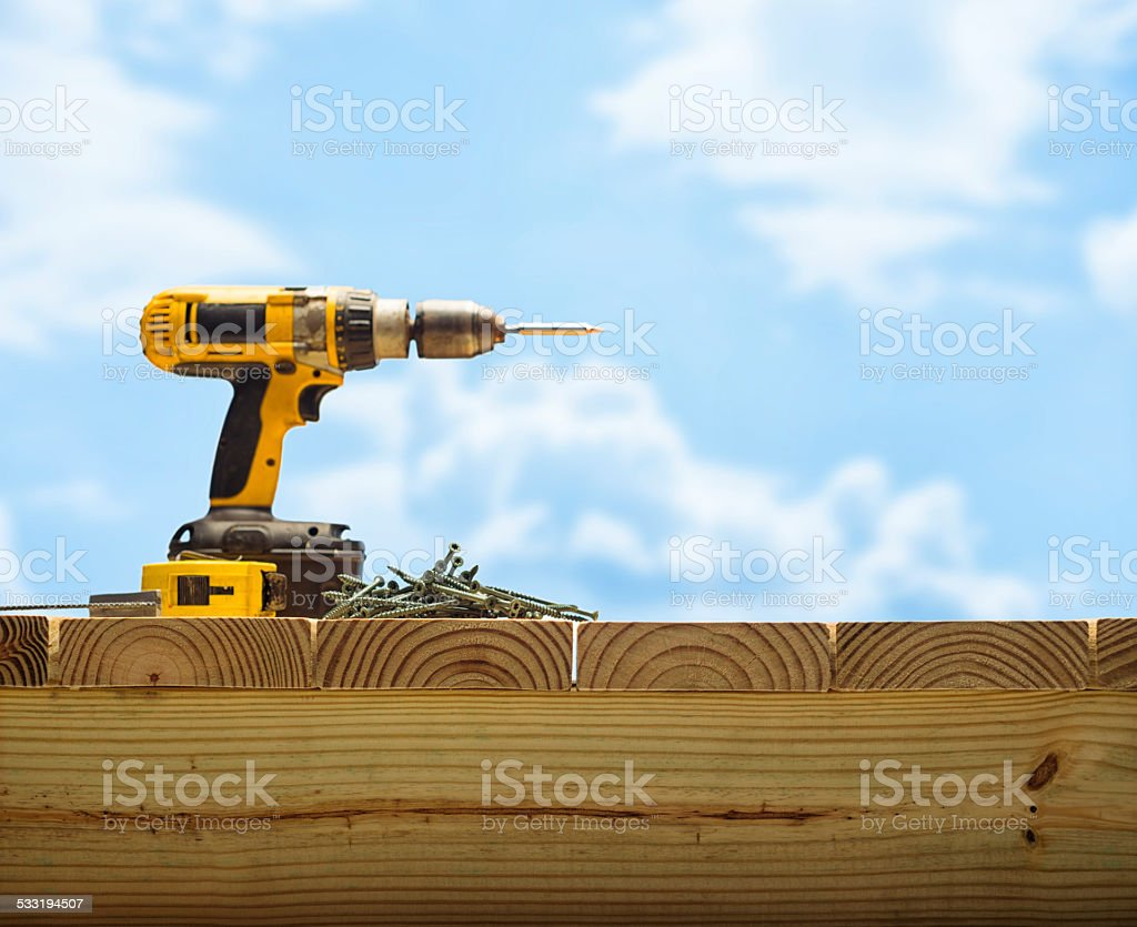 PressureTreated Wood Deck Contruction stock photo