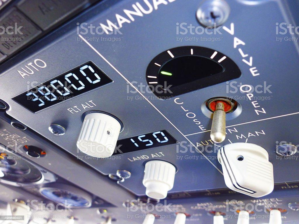 Pressurization Panel of Boeing 737-800 stock photo
