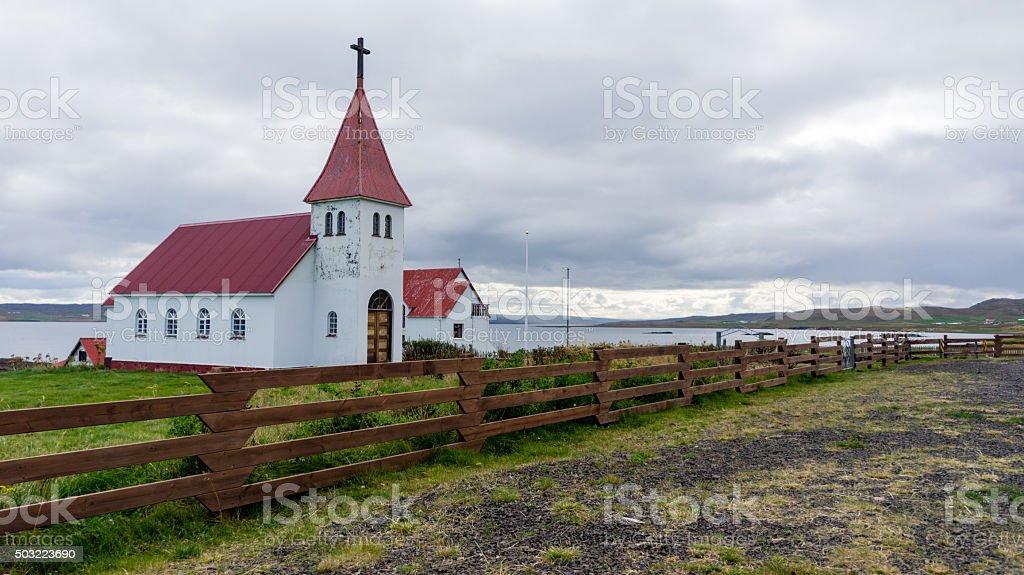 Prestbakkakirkja, one of the many Icelandic churches. stock photo