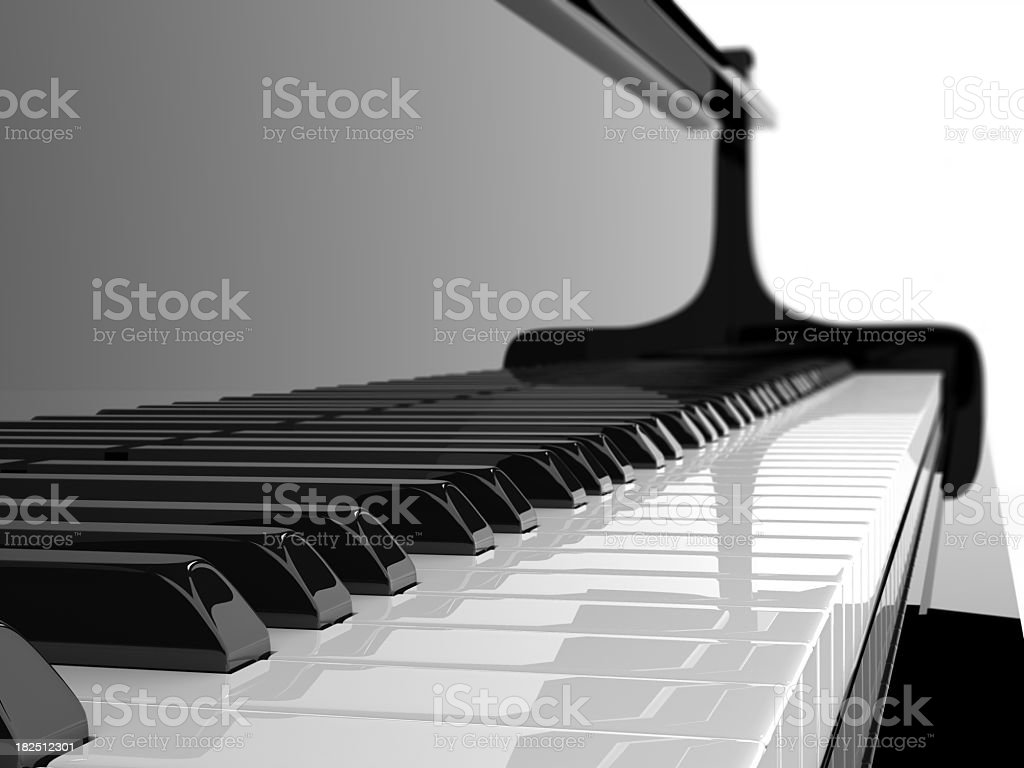 A prestige clean black and white piano and its keys stock photo
