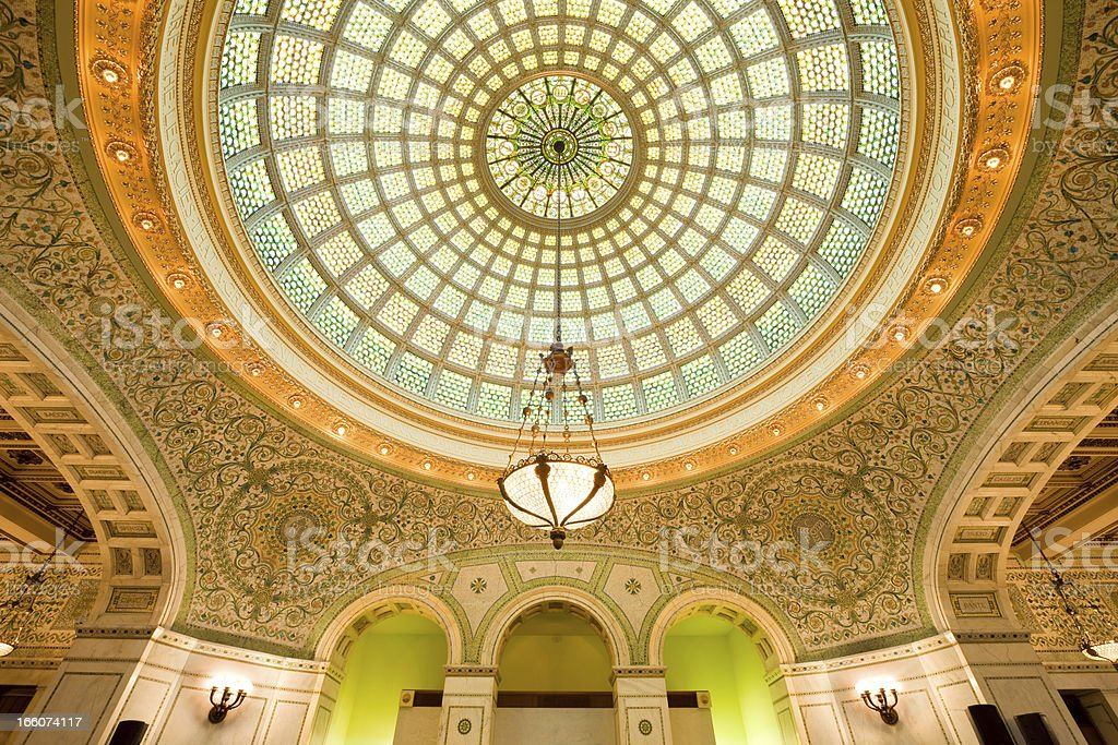Preston Bradley Hall in the Chicago Cultural Center USA stock photo