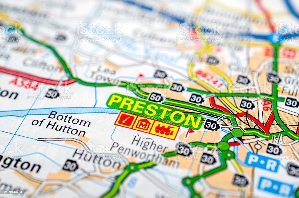 Preston on road map stock photo