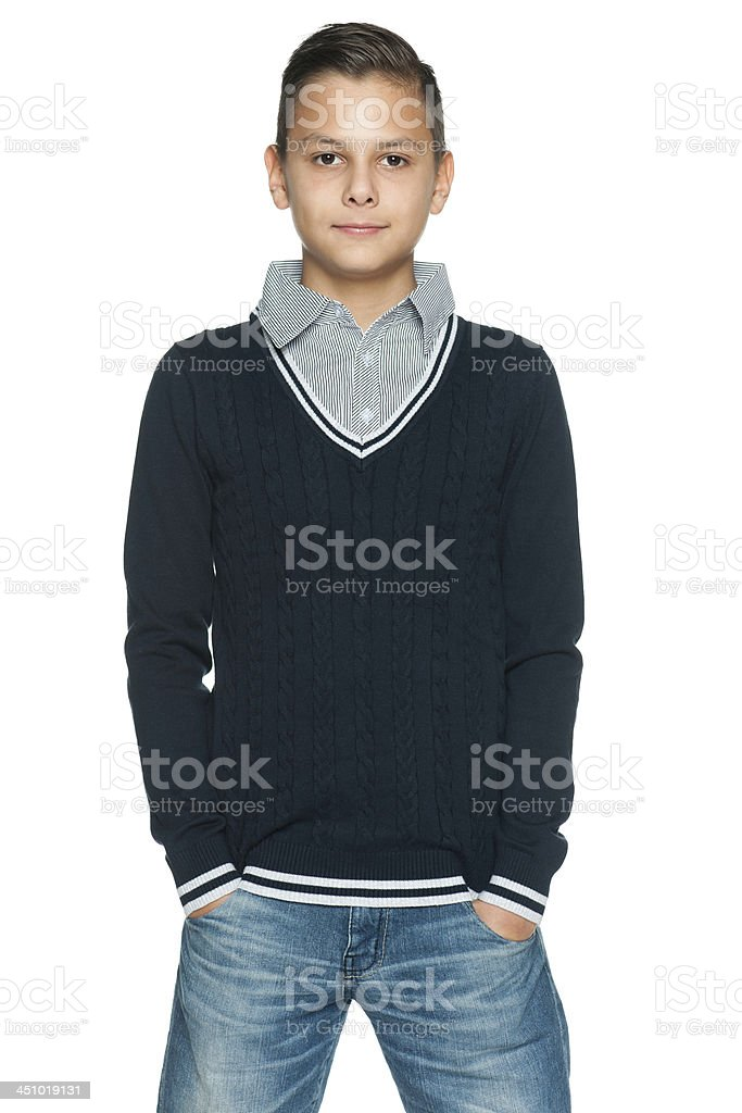 Preteen boy stock photo