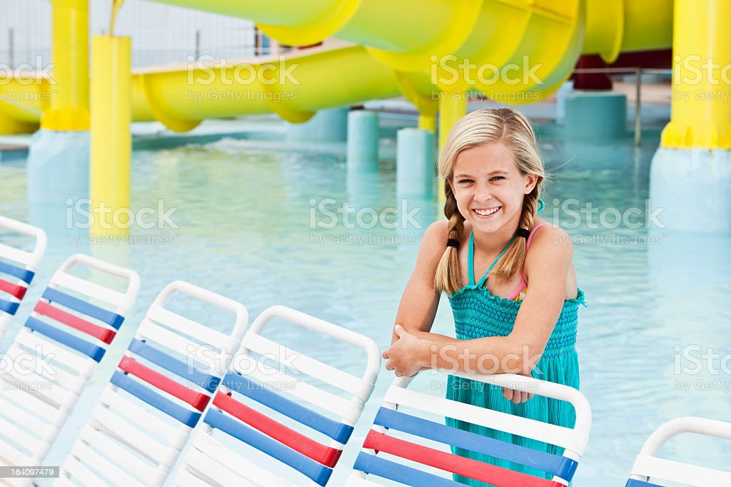 Preteen girl at water park royalty-free stock photo