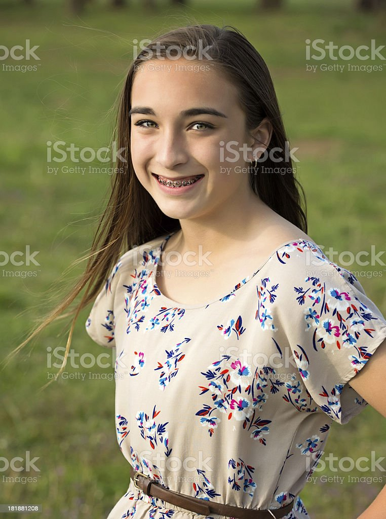 Pre-teen girl with braces royalty-free stock photo