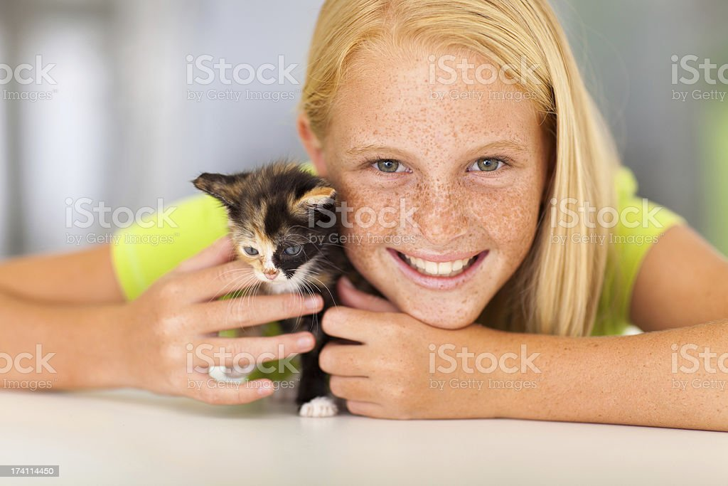 preteen girl with pet friend royalty-free stock photo