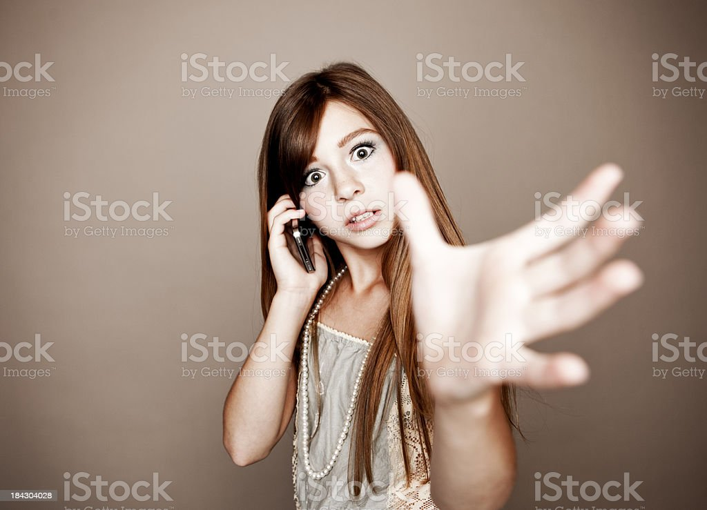 Preteen On Her Cell Phone stock photo