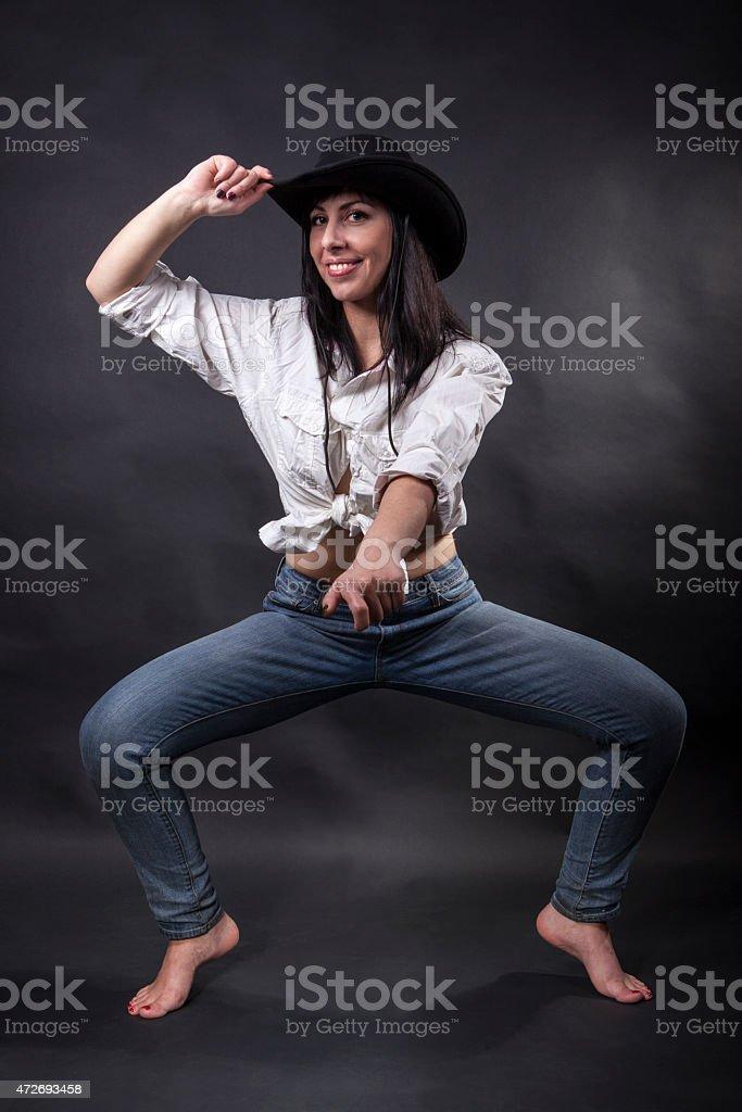 pretending to be riding stock photo